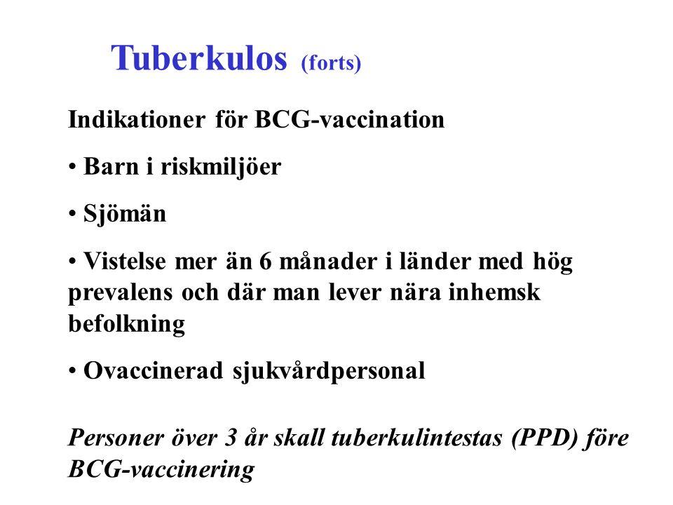 Tuberkulos (forts) Indikationer för BCG-vaccination Barn i riskmiljöer