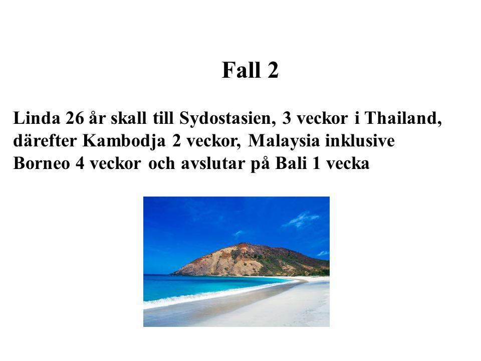 Fall 2 Linda 26 år skall till Sydostasien, 3 veckor i Thailand, därefter Kambodja 2 veckor, Malaysia inklusive.