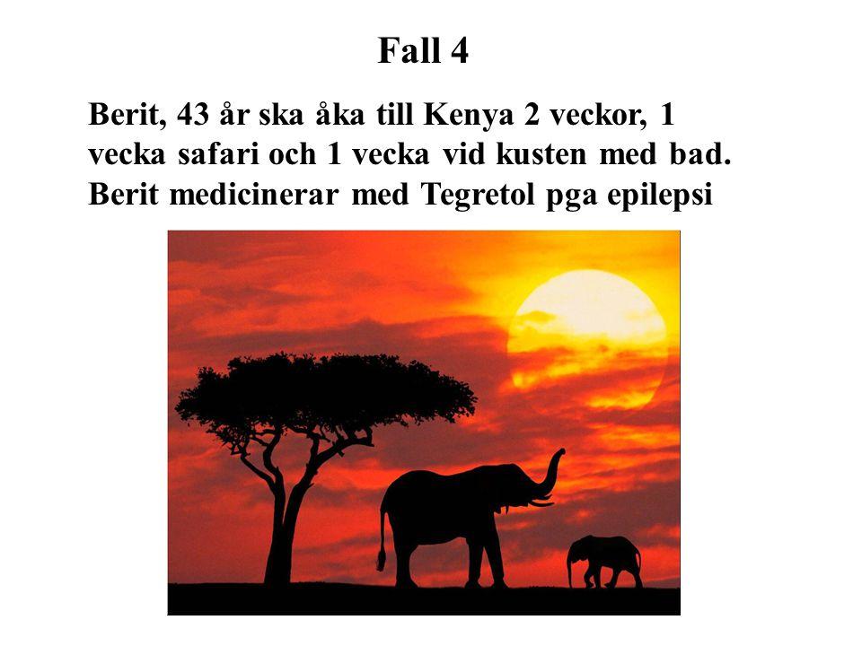 Fall 4 Berit, 43 år ska åka till Kenya 2 veckor, 1 vecka safari och 1 vecka vid kusten med bad.