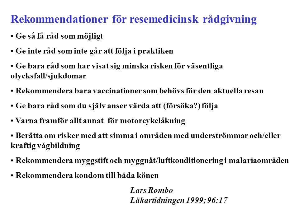 Rekommendationer för resemedicinsk rådgivning