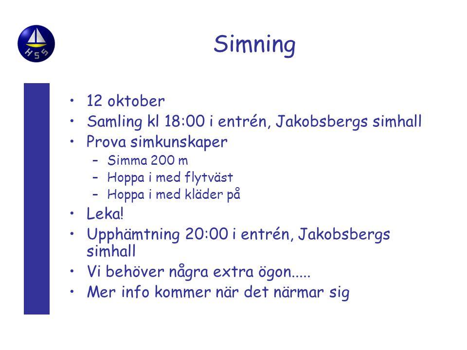 Simning 12 oktober Samling kl 18:00 i entrén, Jakobsbergs simhall
