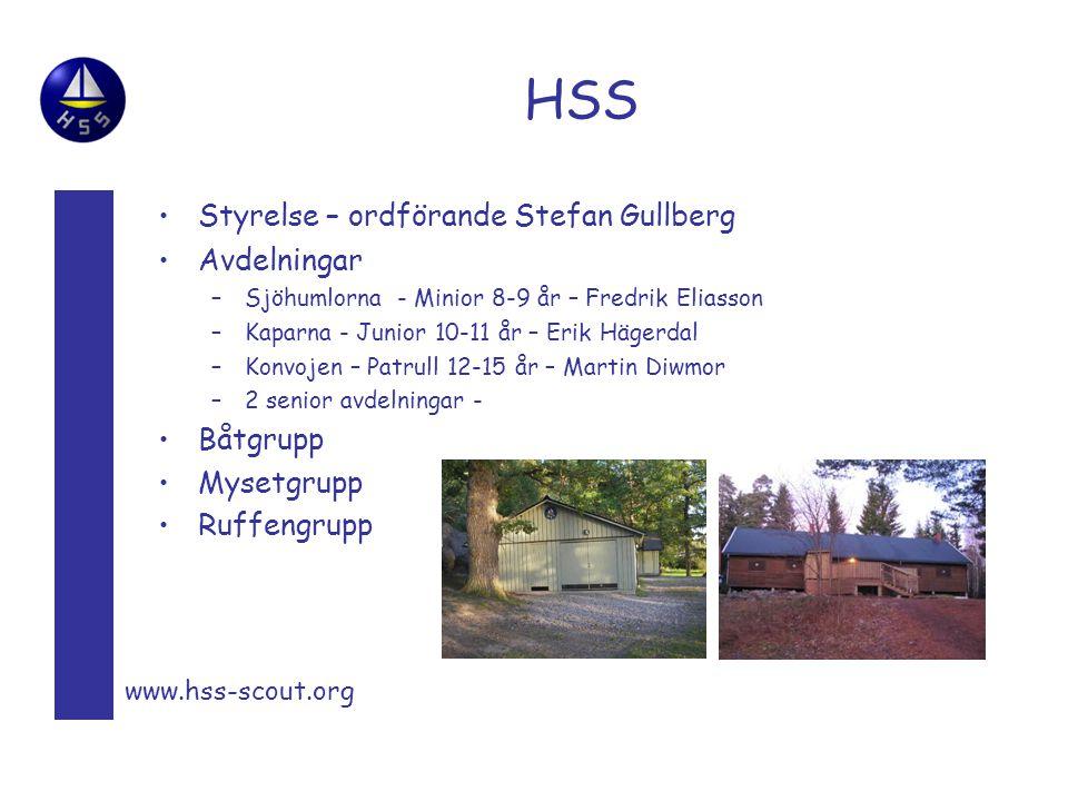 HSS Styrelse – ordförande Stefan Gullberg Avdelningar Båtgrupp