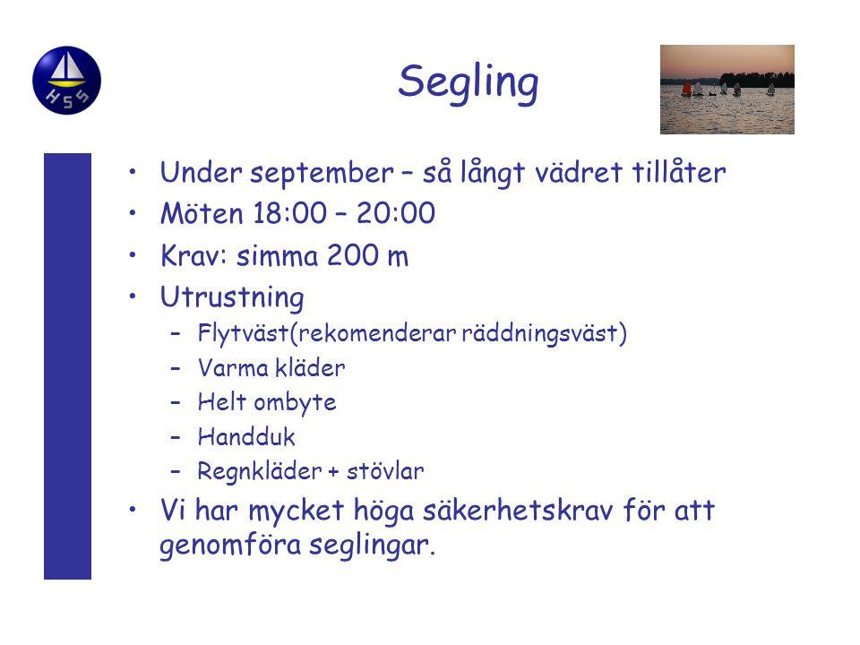 Segling Under september – så långt vädret tillåter Möten 18:00 – 20:00