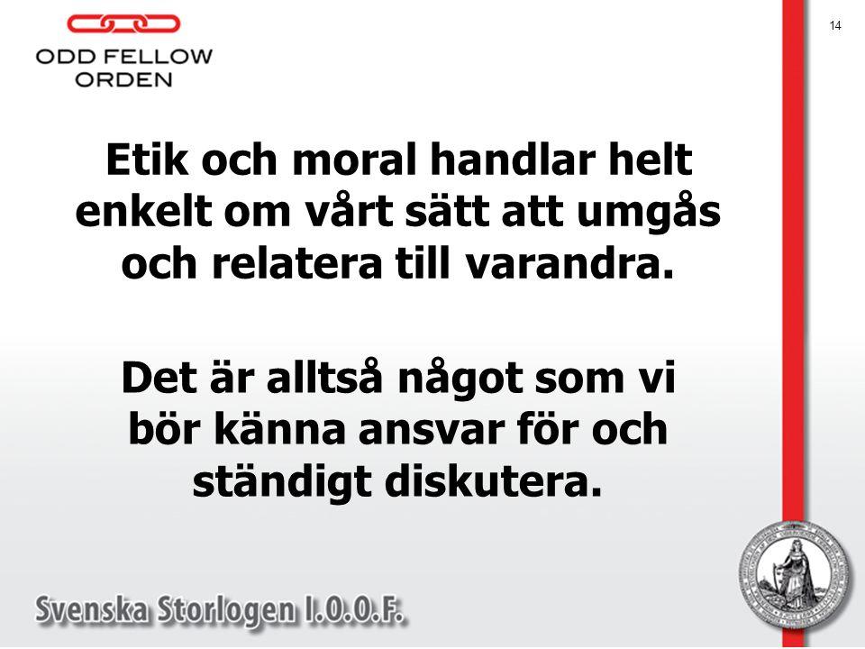 Etik och moral handlar helt enkelt om vårt sätt att umgås och relatera till varandra.