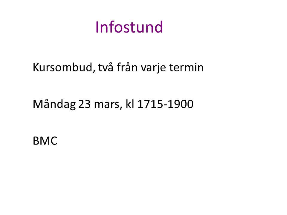 Infostund Kursombud, två från varje termin