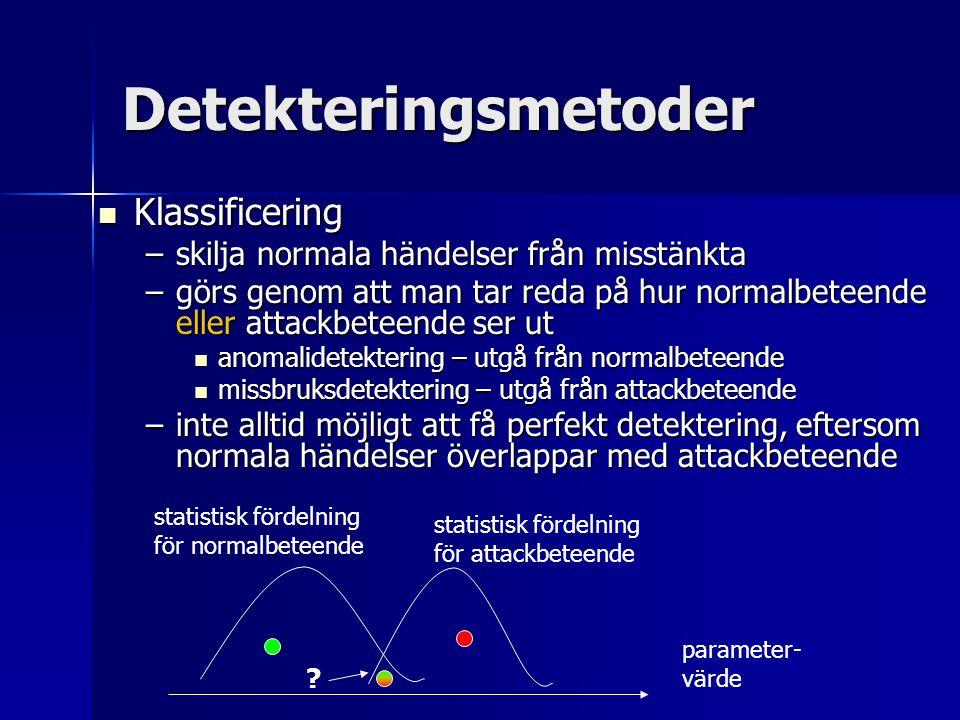 Detekteringsmetoder Klassificering