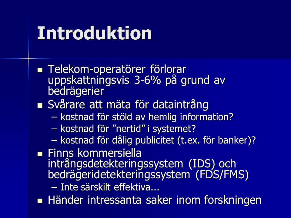 Introduktion Telekom-operatörer förlorar uppskattningsvis 3-6% på grund av bedrägerier. Svårare att mäta för dataintrång.