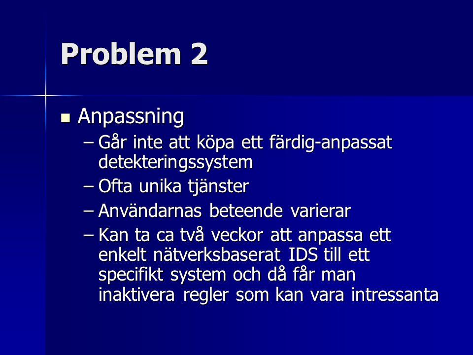Problem 2 Anpassning. Går inte att köpa ett färdig-anpassat detekteringssystem. Ofta unika tjänster.