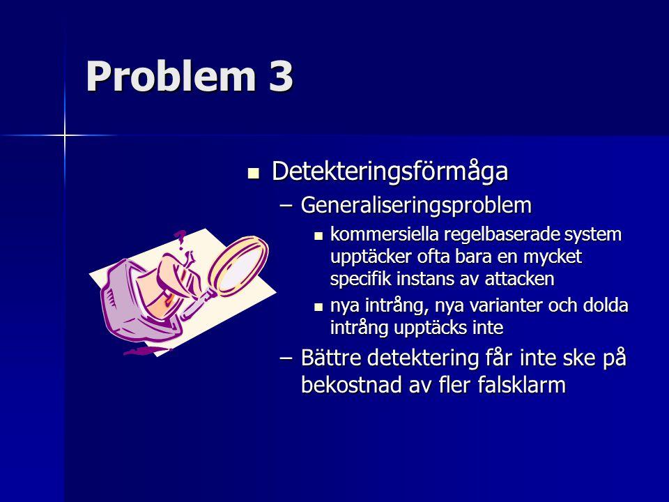 Problem 3 Detekteringsförmåga Generaliseringsproblem