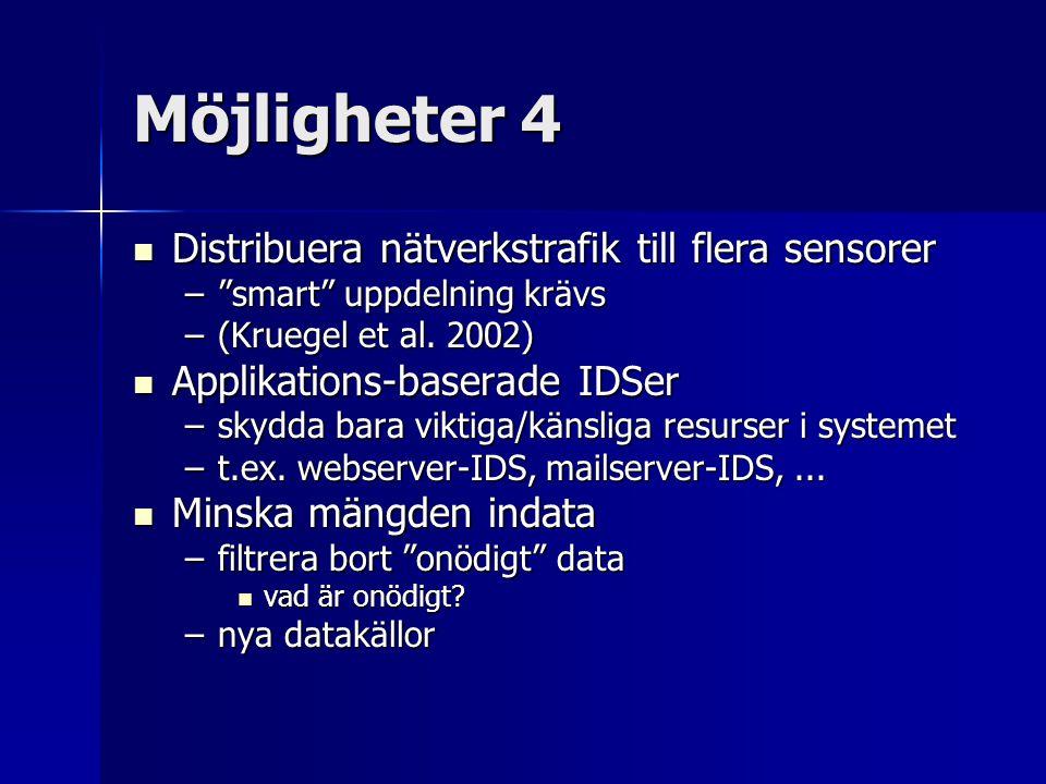 Möjligheter 4 Distribuera nätverkstrafik till flera sensorer