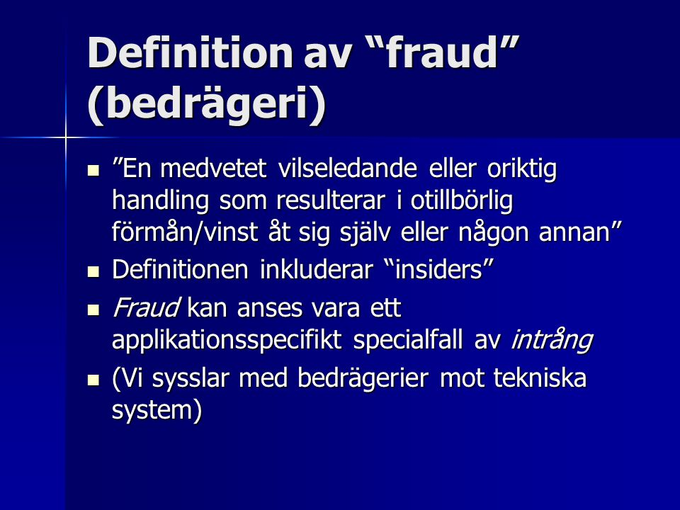 Definition av fraud (bedrägeri)