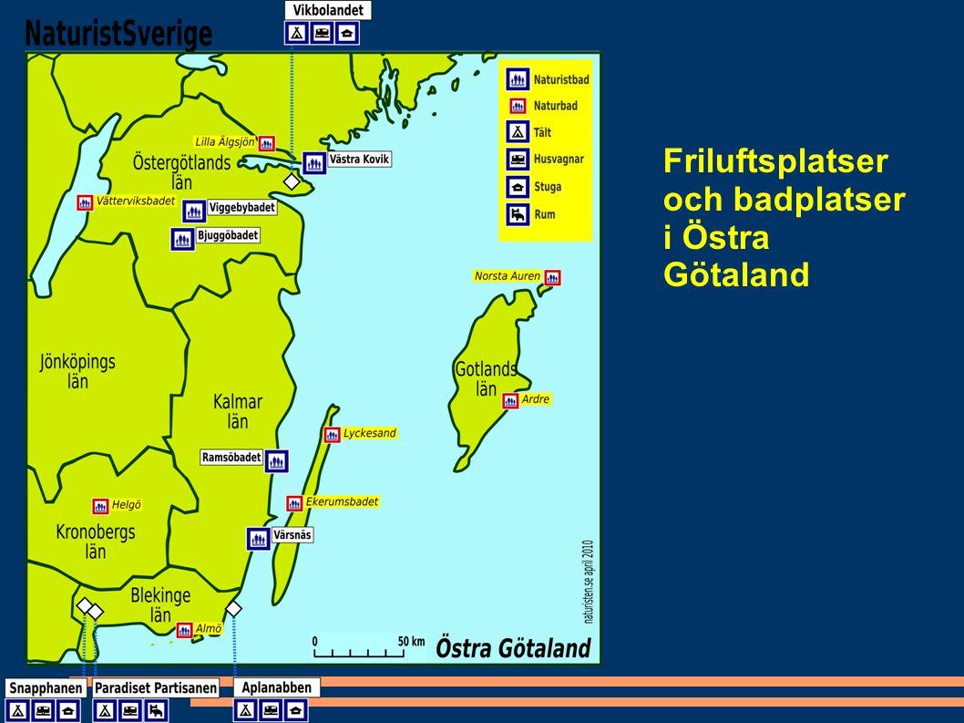 Friluftsplatser och badplatser i Östra Götaland