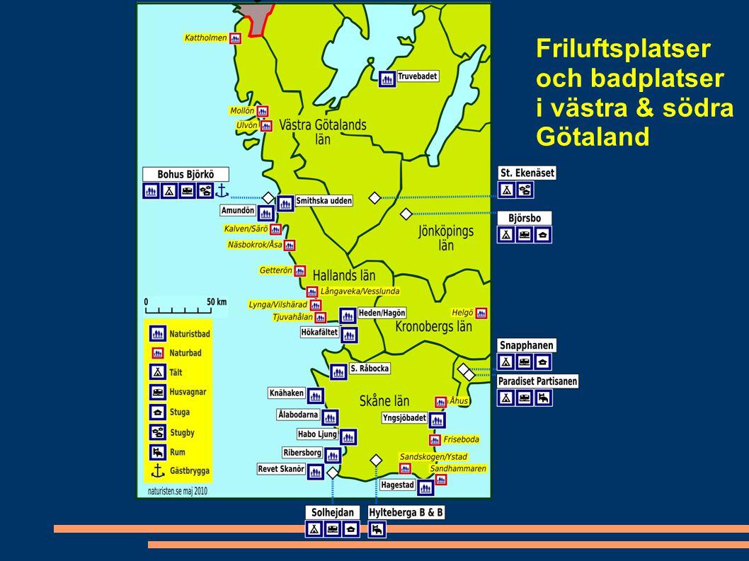 Friluftsplatser och badplatser i västra & södra Götaland