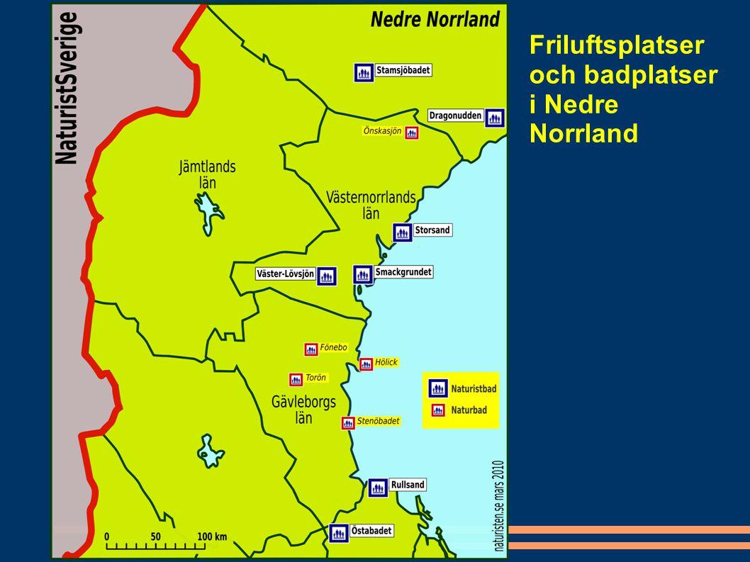 Friluftsplatser och badplatser i Nedre Norrland
