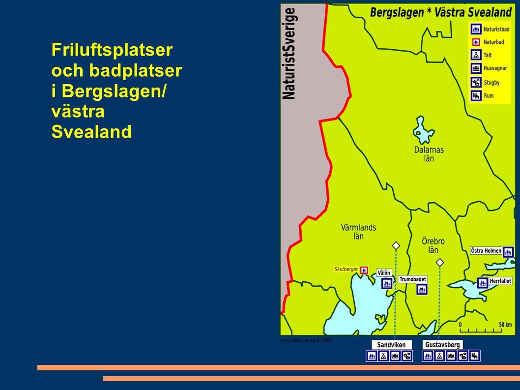 Friluftsplatser och badplatser i Bergslagen/ västra Svealand