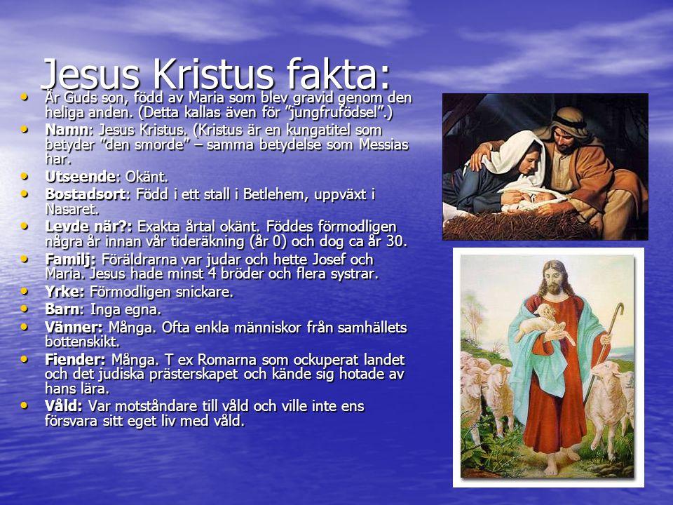 Jesus Kristus fakta: Är Guds son, född av Maria som blev gravid genom den heliga anden. (Detta kallas även för jungfrufödsel .)