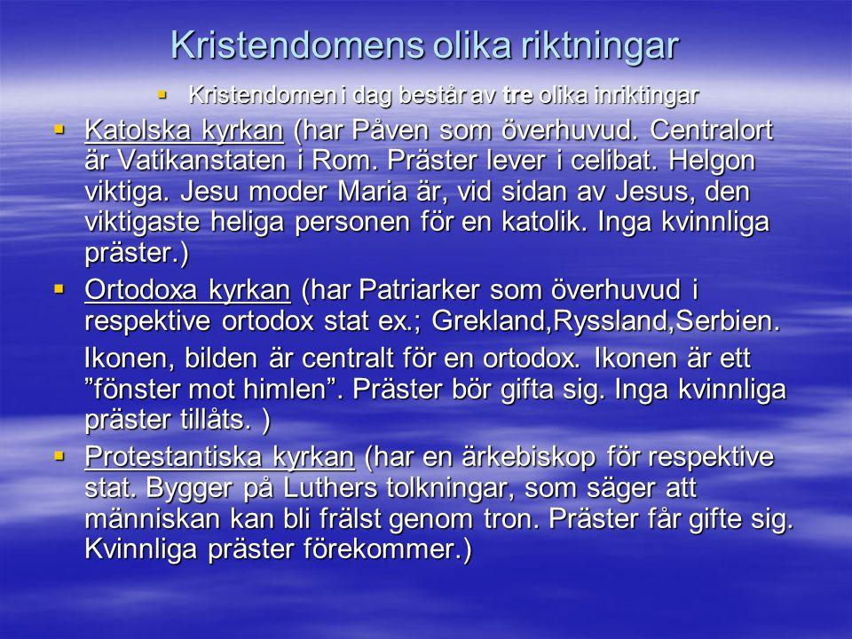 Kristendomens olika riktningar