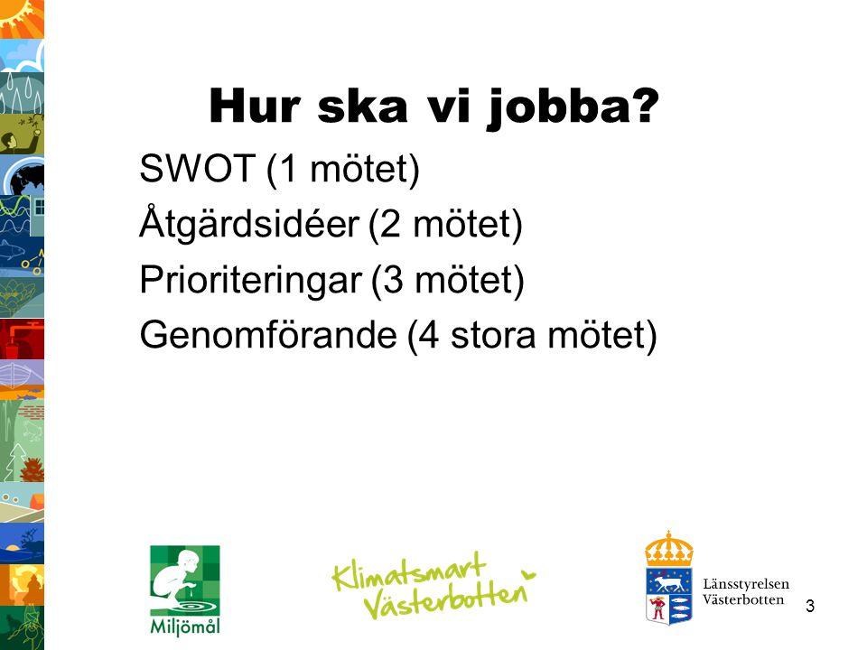 Hur ska vi jobba SWOT (1 mötet) Åtgärdsidéer (2 mötet)