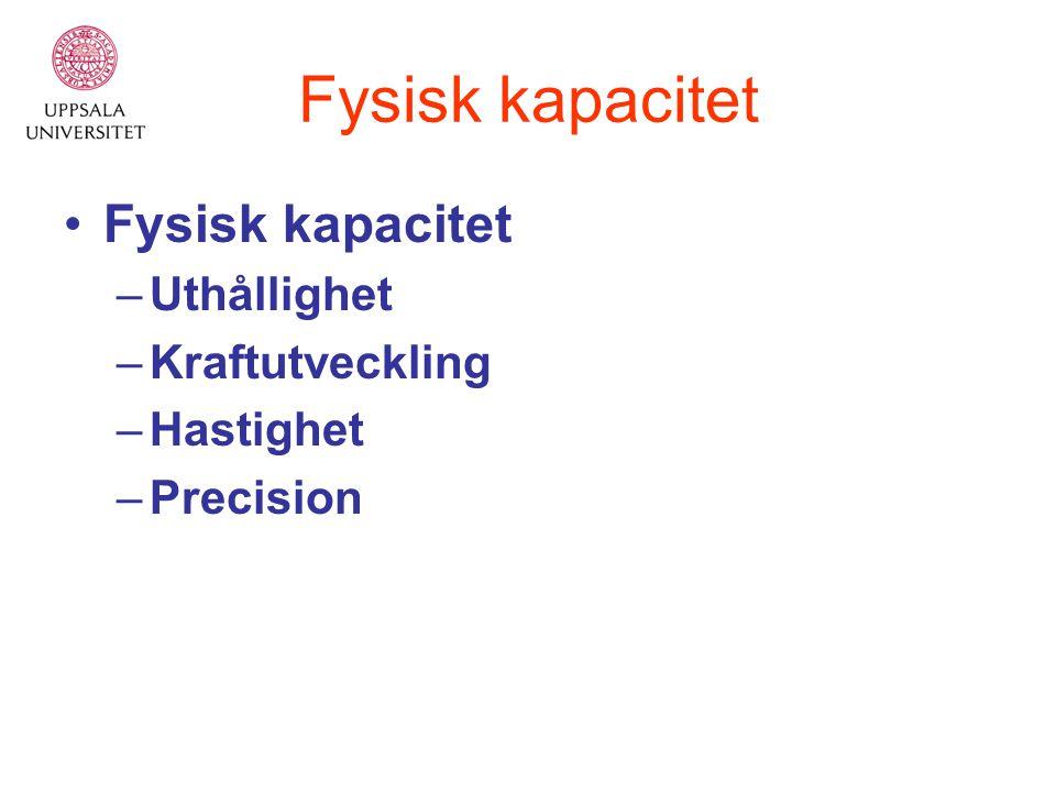Fysisk kapacitet Fysisk kapacitet Uthållighet Kraftutveckling