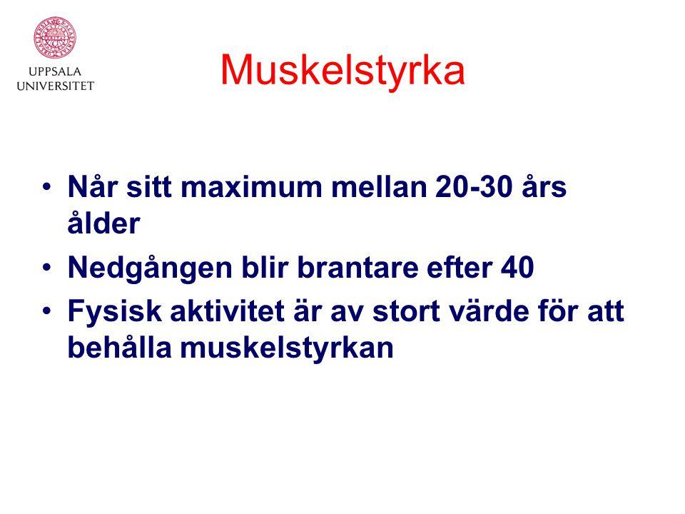 Muskelstyrka Når sitt maximum mellan 20-30 års ålder