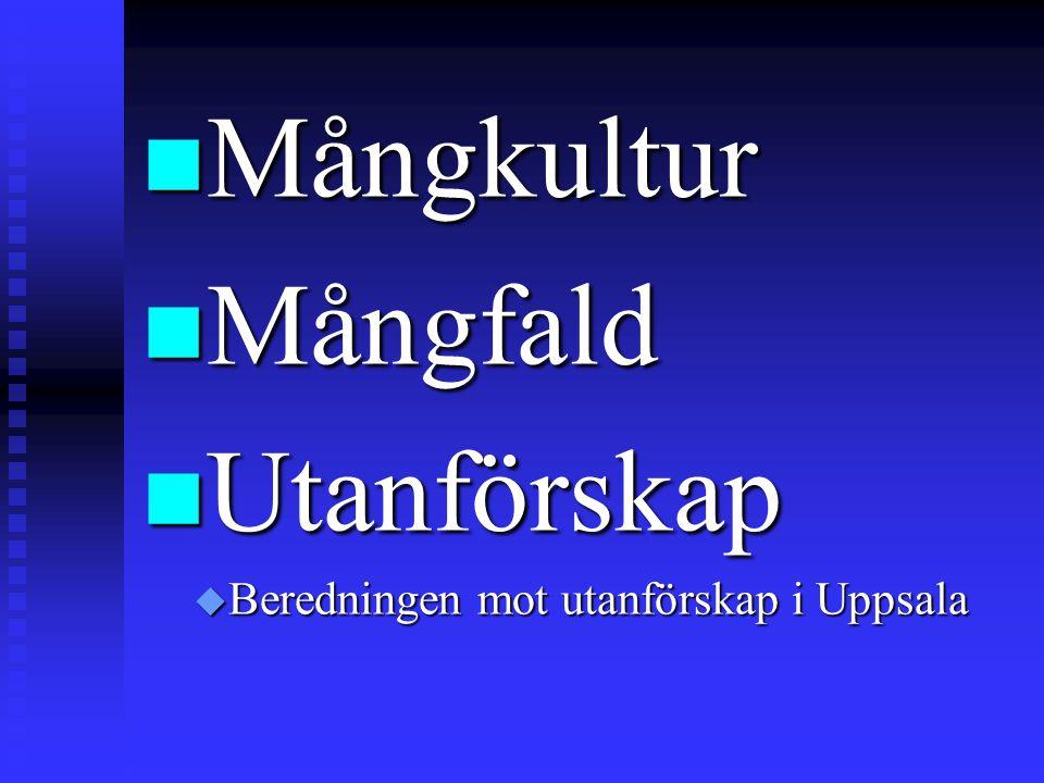 Mångkultur Mångfald Utanförskap Beredningen mot utanförskap i Uppsala