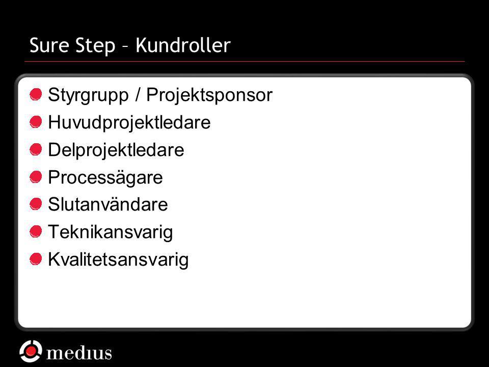 Sure Step – Kundroller Styrgrupp / Projektsponsor Huvudprojektledare