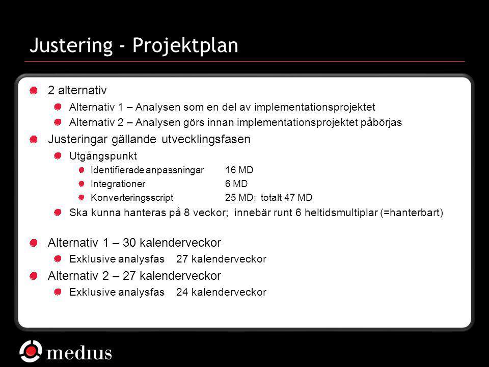Justering - Projektplan