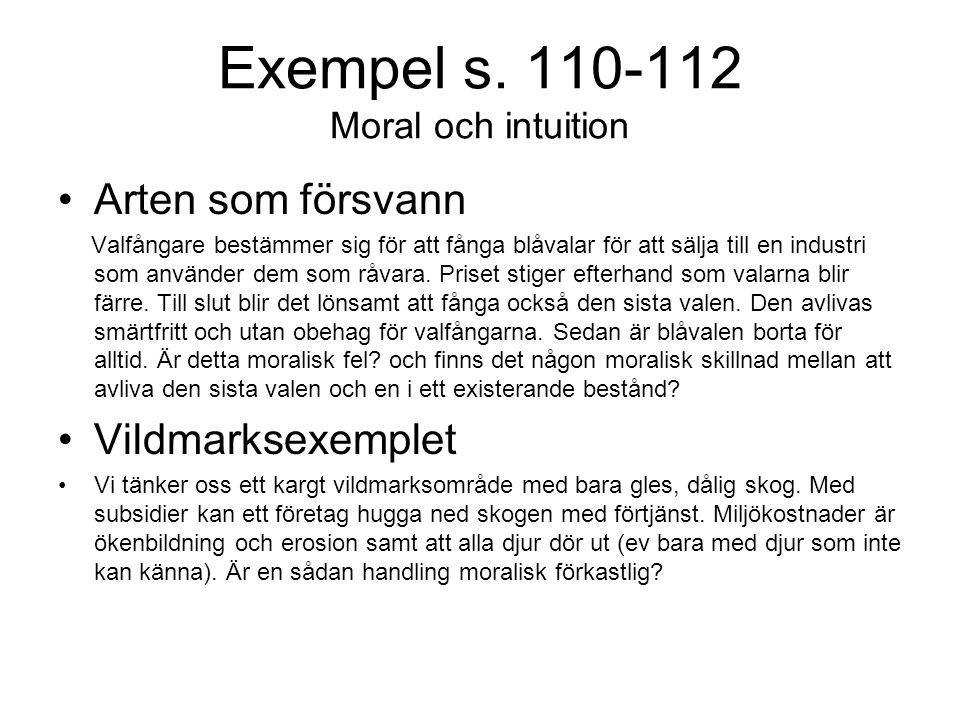 Exempel s. 110-112 Moral och intuition