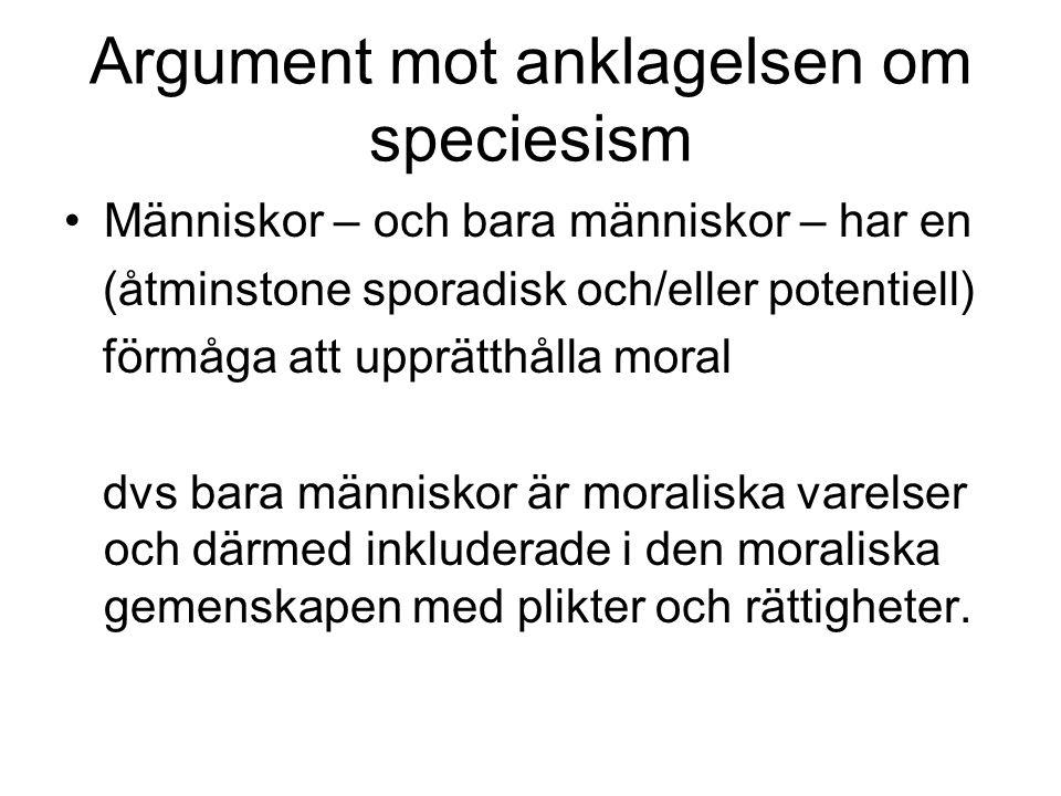 Argument mot anklagelsen om speciesism