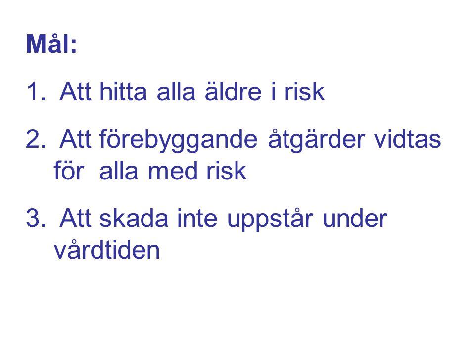 Mål: Att hitta alla äldre i risk. Att förebyggande åtgärder vidtas för alla med risk.