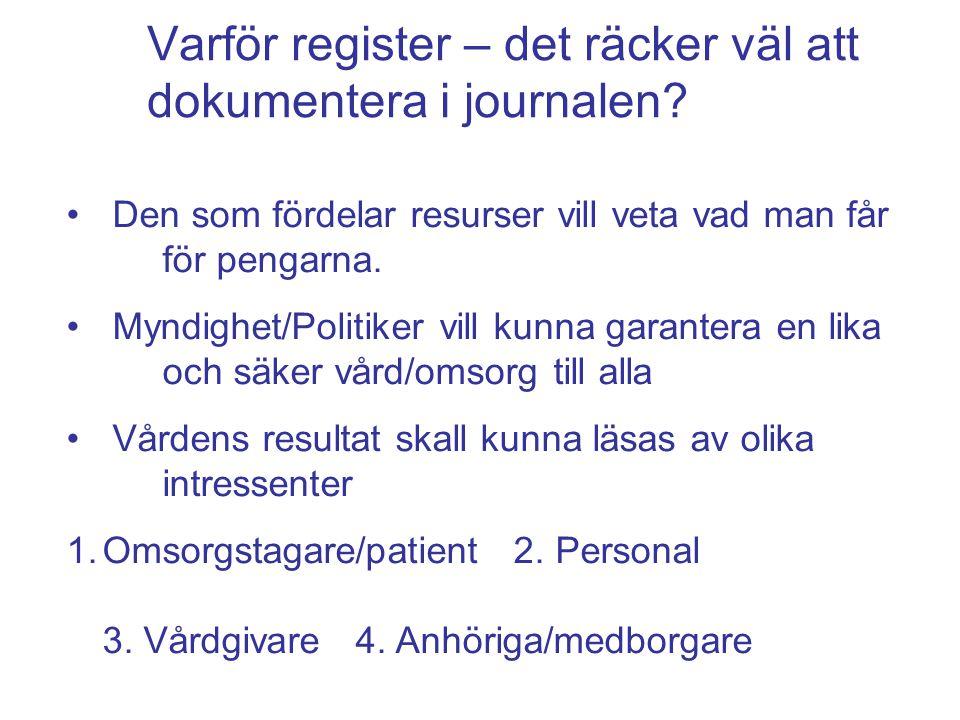 Varför register – det räcker väl att dokumentera i journalen