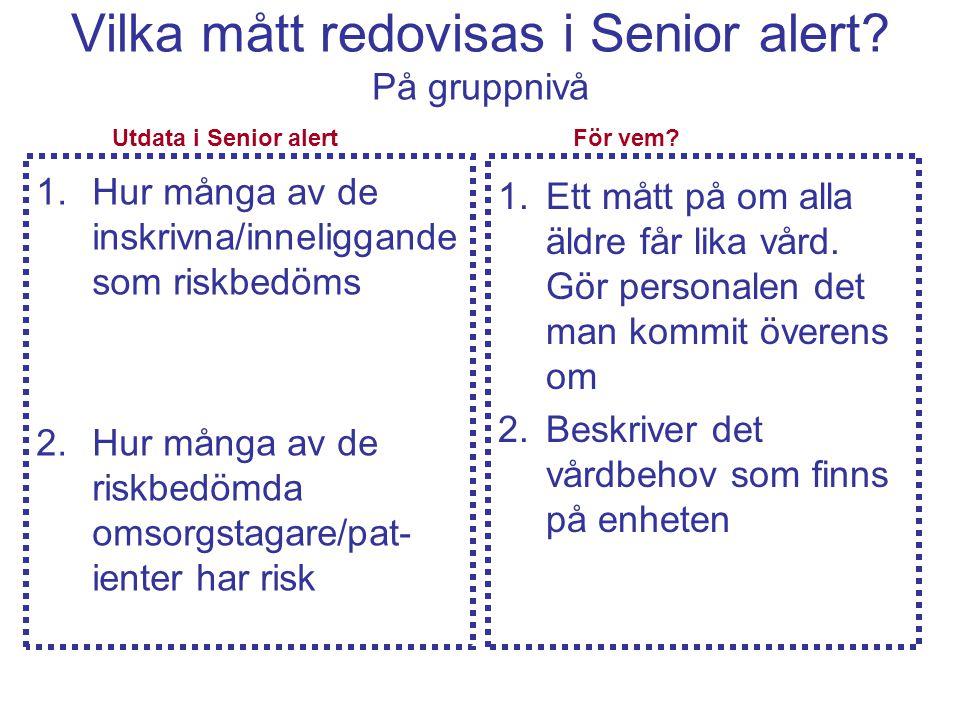 Vilka mått redovisas i Senior alert På gruppnivå