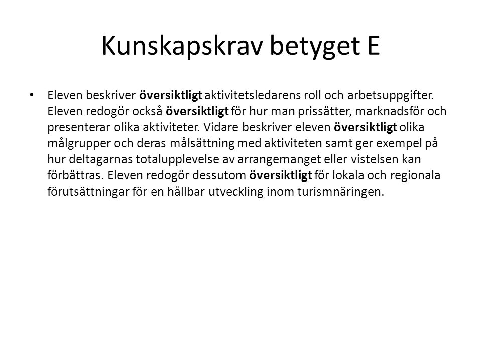 Kunskapskrav betyget E