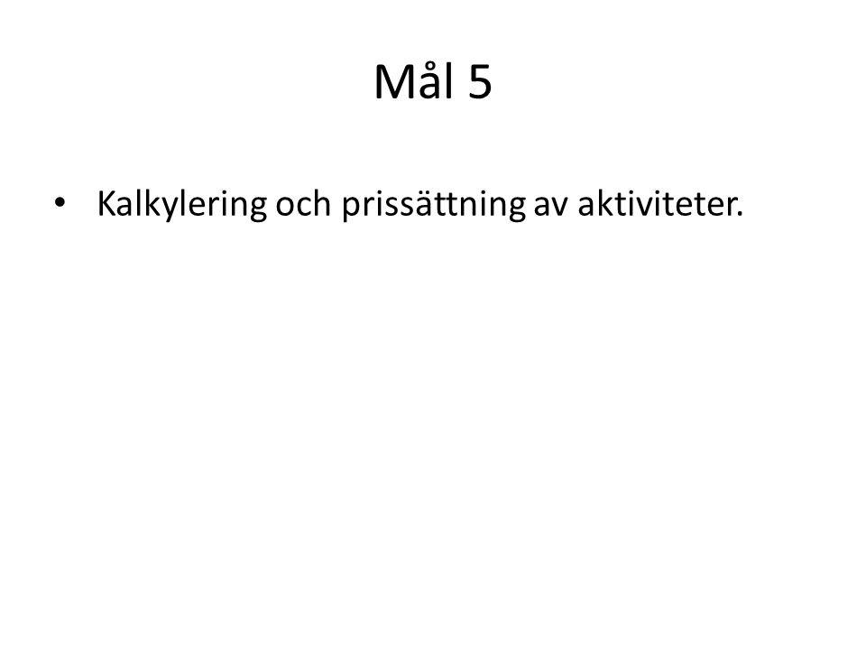 Mål 5 Kalkylering och prissättning av aktiviteter.