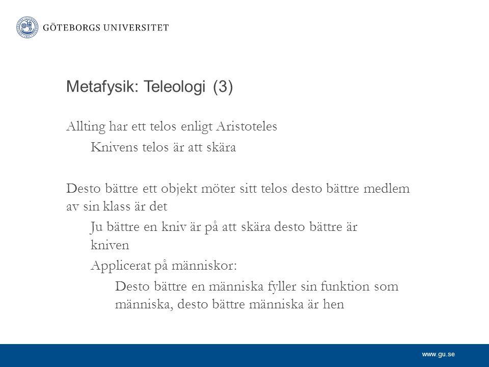Metafysik: Teleologi (3)