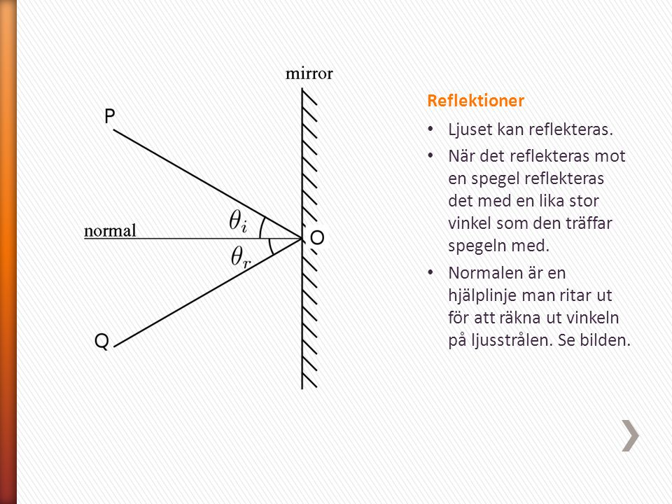 Reflektioner Ljuset kan reflekteras. När det reflekteras mot en spegel reflekteras det med en lika stor vinkel som den träffar spegeln med.