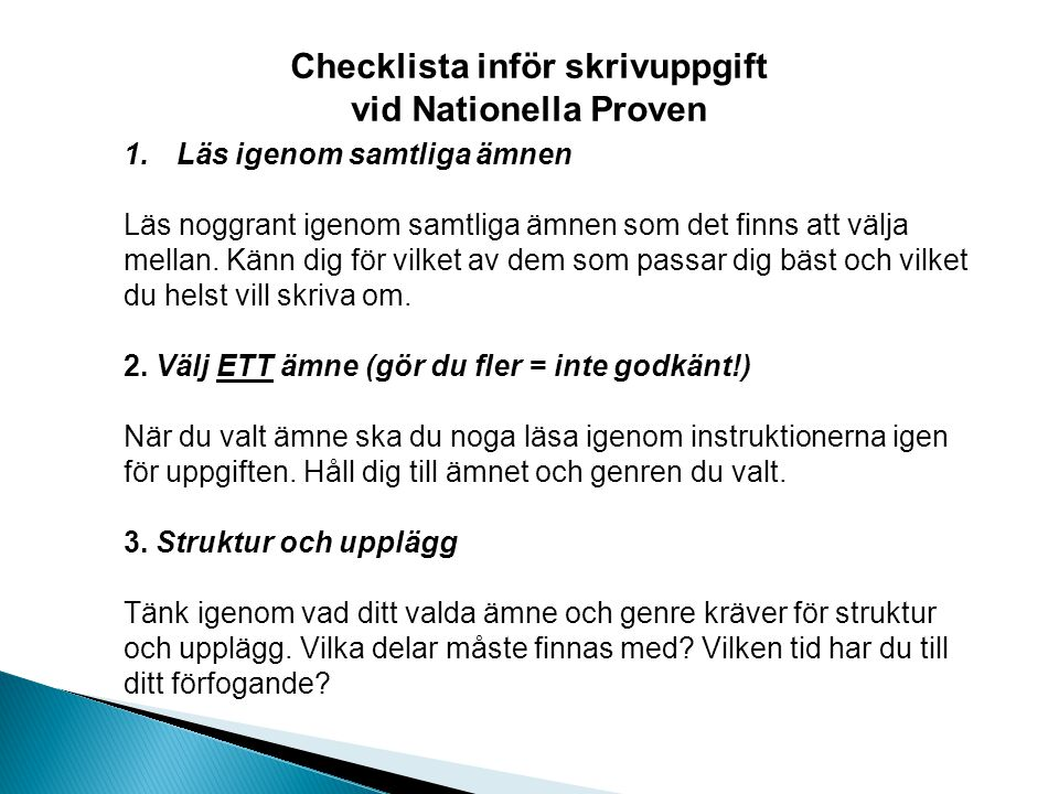Checklista inför skrivuppgift
