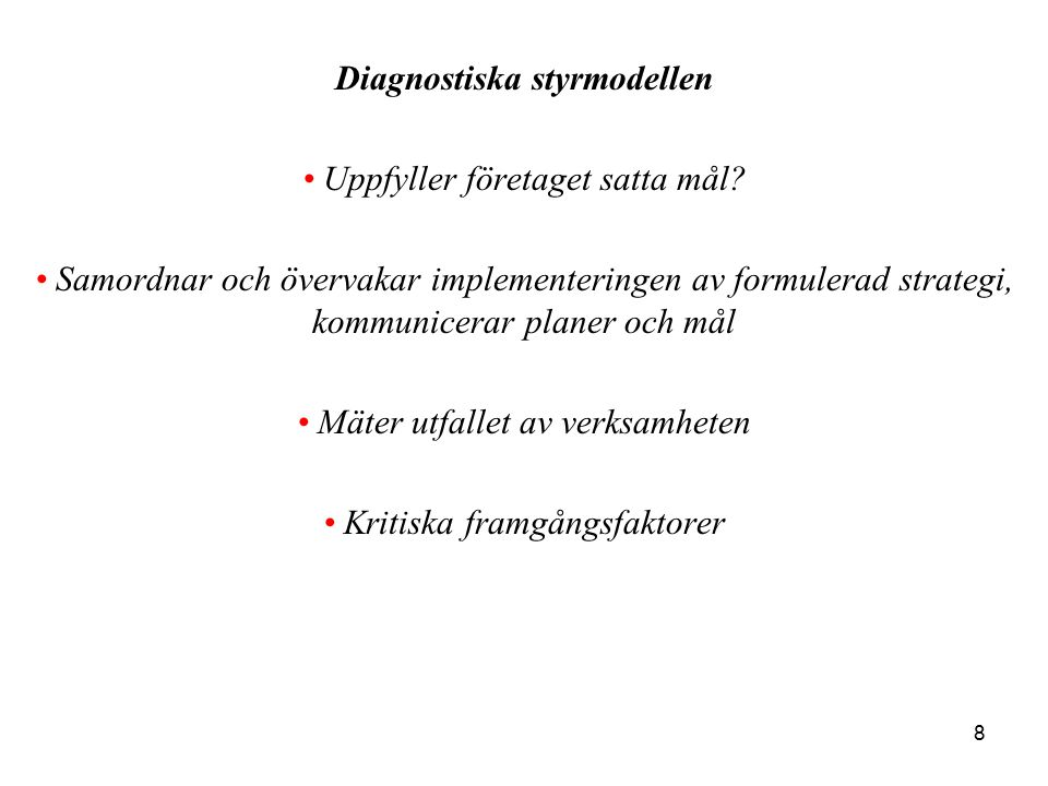 Diagnostiska styrmodellen
