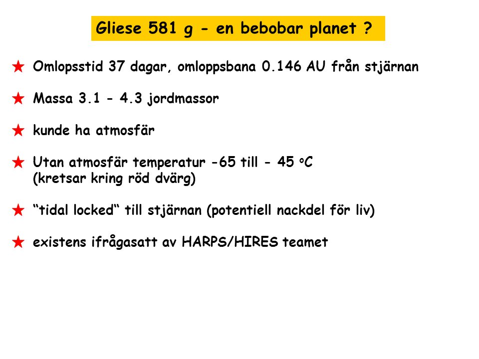 Gliese 581 g - en bebobar planet