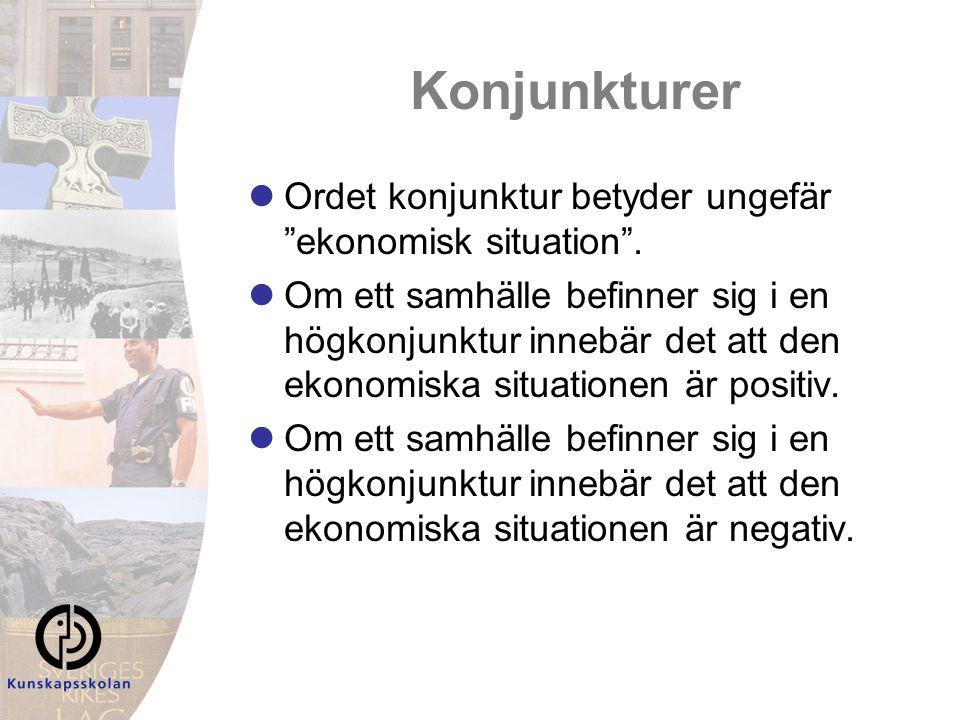 Konjunkturer Ordet konjunktur betyder ungefär ekonomisk situation .
