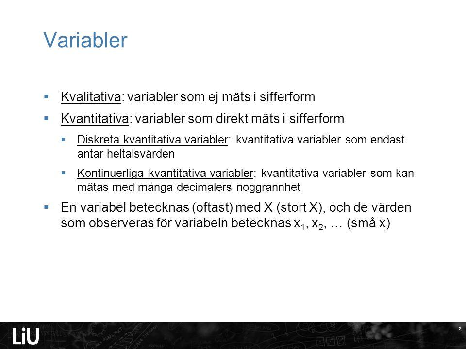 Variabler Kvalitativa: variabler som ej mäts i sifferform