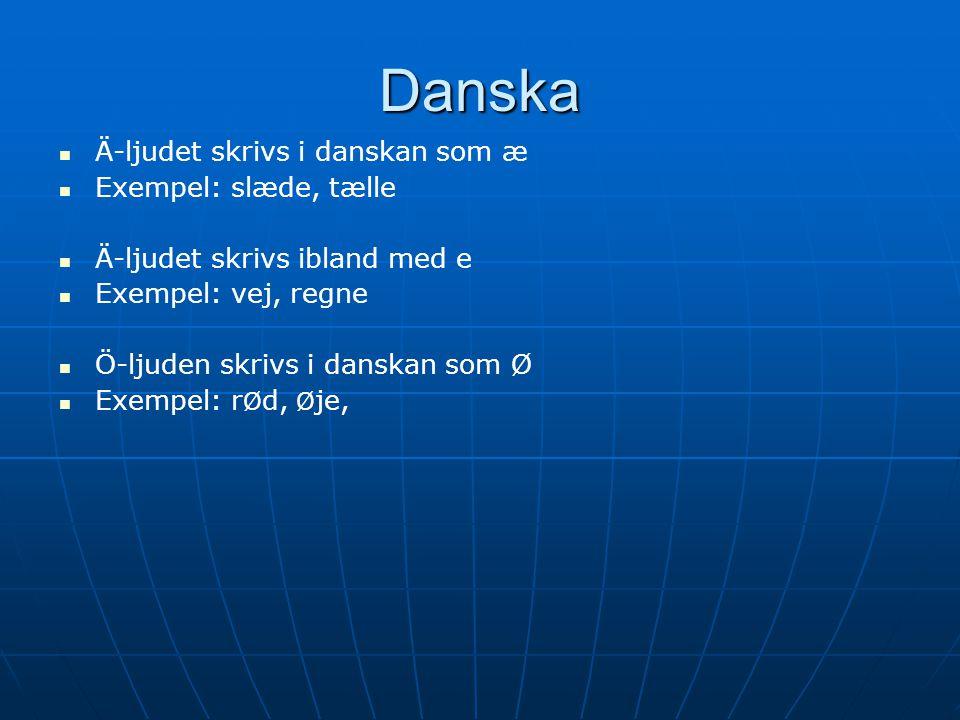 Danska Ä-ljudet skrivs i danskan som æ Exempel: slæde, tælle