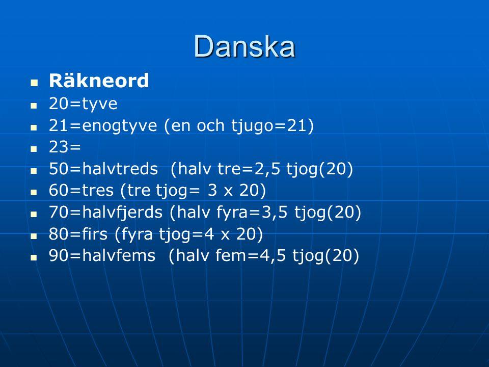 Danska Räkneord 20=tyve 21=enogtyve (en och tjugo=21) 23=