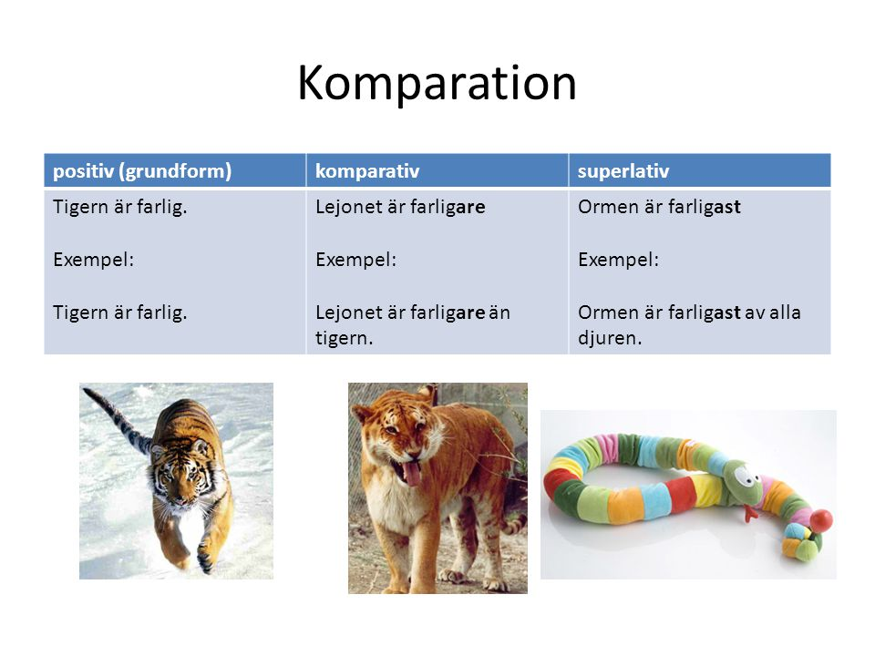 Komparation positiv (grundform) komparativ superlativ