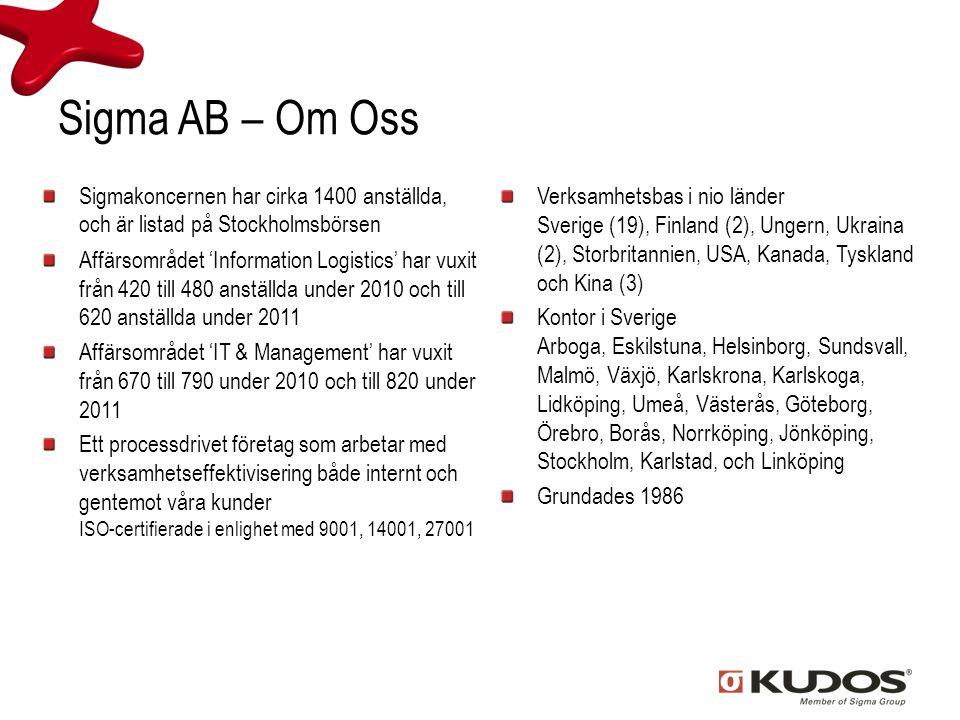 Sigma AB – Om Oss Sigmakoncernen har cirka 1400 anställda, och är listad på Stockholmsbörsen.