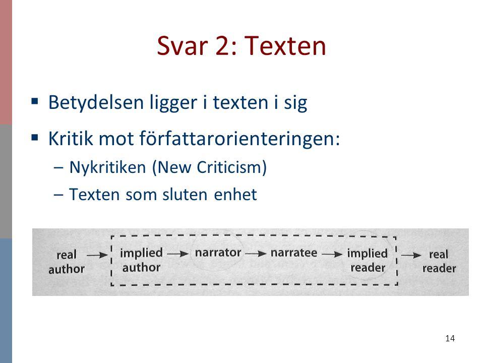 Svar 2: Texten Betydelsen ligger i texten i sig