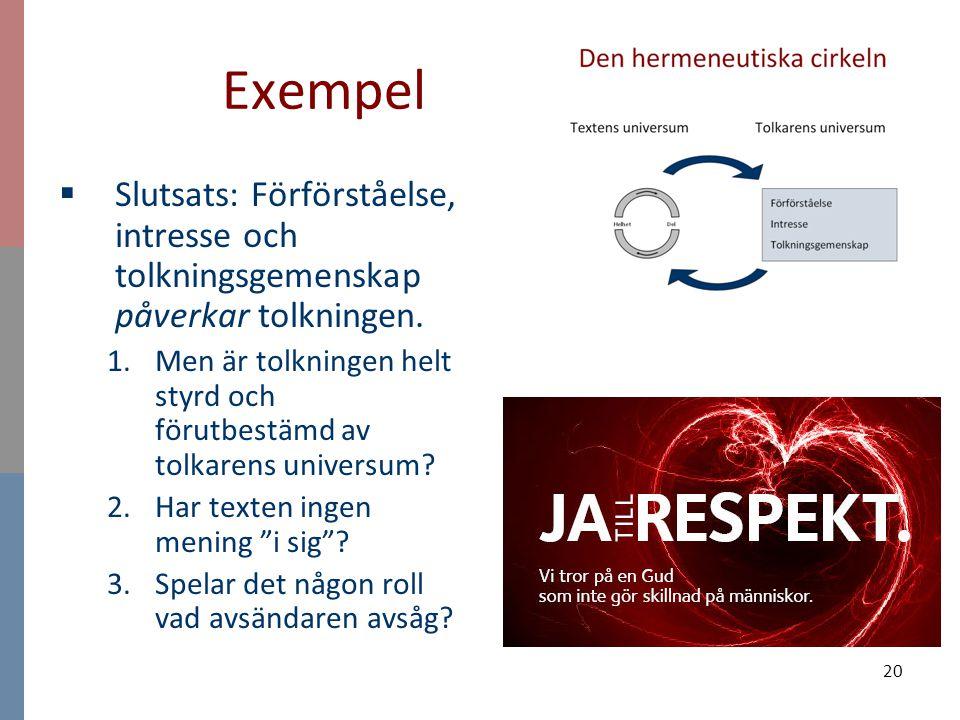 Exempel Slutsats: Förförståelse, intresse och tolkningsgemenskap påverkar tolkningen.