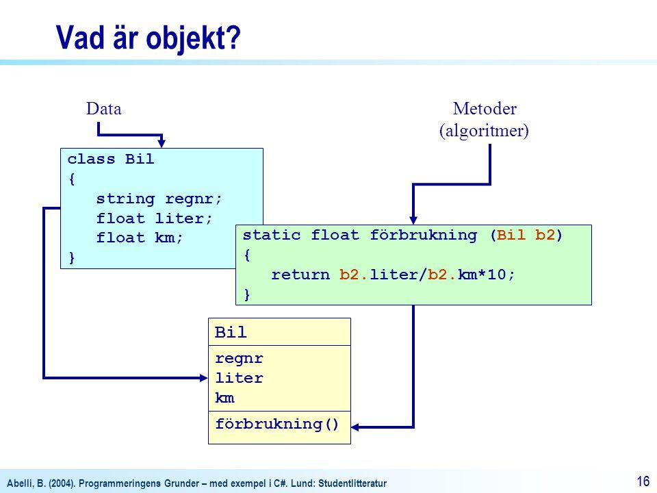 Vad är objekt Data Metoder (algoritmer) Bil class Bil { string regnr;
