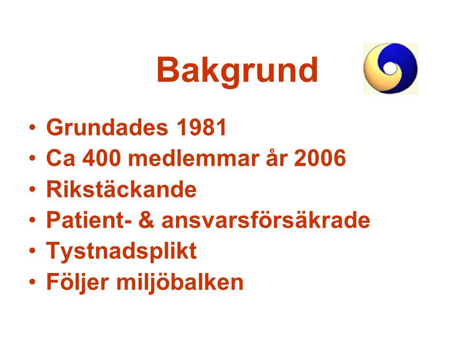 Bakgrund Grundades 1981 Ca 400 medlemmar år 2006 Rikstäckande
