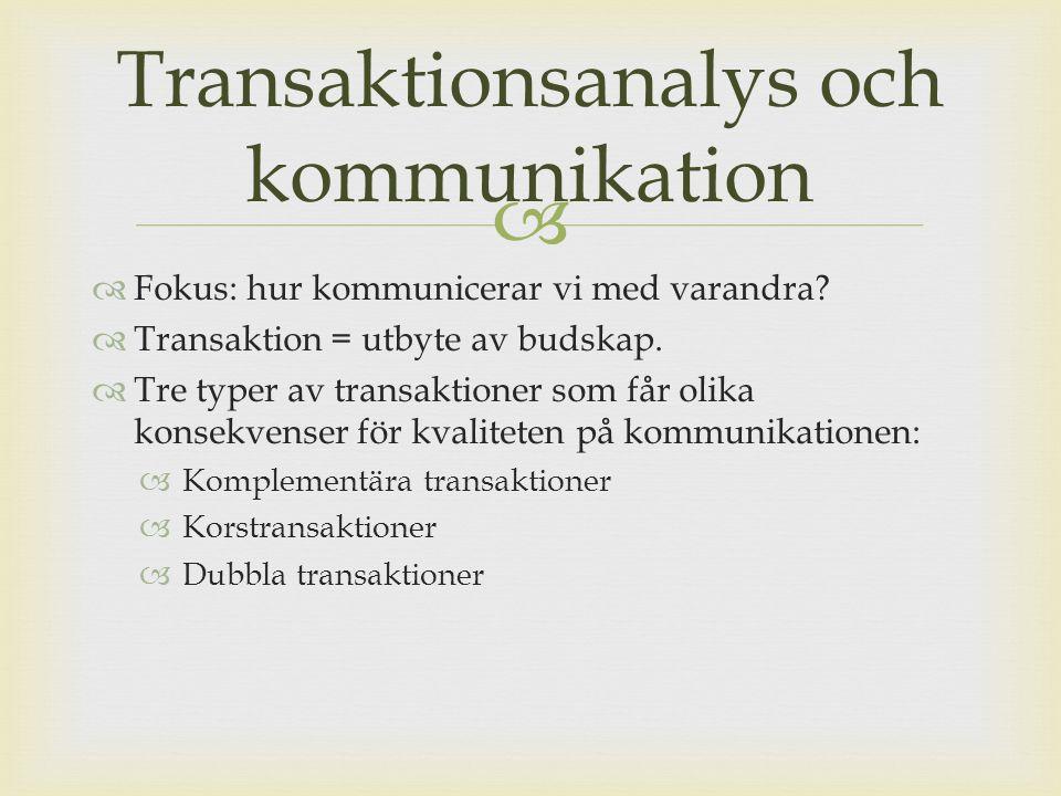 Transaktionsanalys och kommunikation